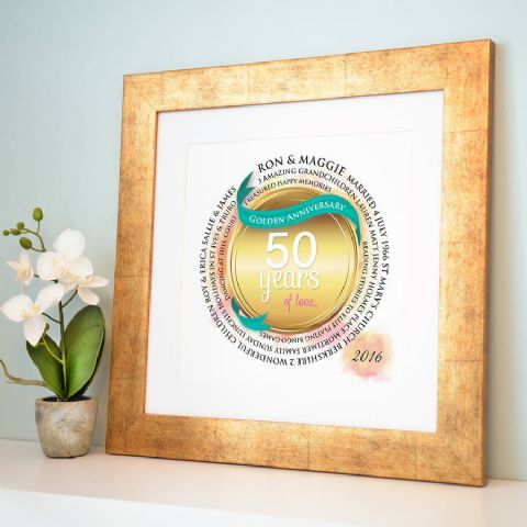 Personalised Golden Anniversary Circle Word Art